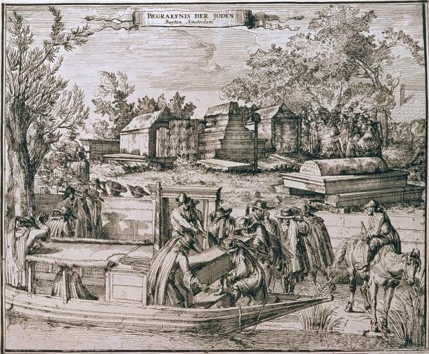 Llegada de la barcaza al cementerio portugués de Ouderkerk aan de Amstel, 1680. Romeyn de Hooghe.